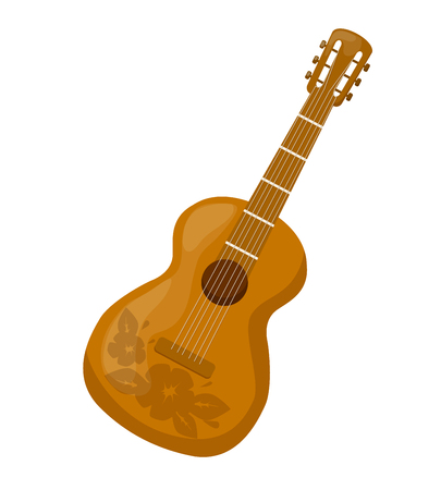 Beautiful wooden guitar with a decorative ornament, pattern. Illustration