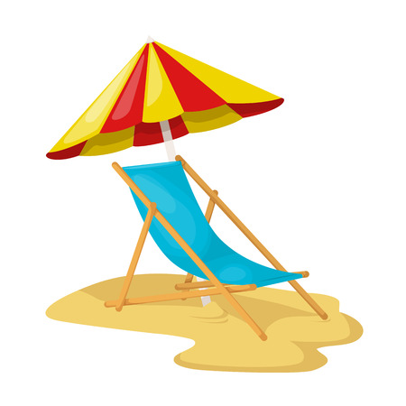 Umbrella and sun lounger wooden on a sand beach, with bright sun. Summer trip, relax leisure on Hawaii, holiday in seashore and tropical travel concept. Vector illustration isolated.