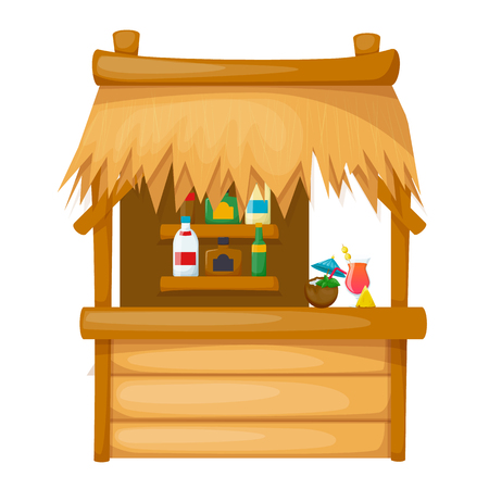 Comfortable wooden dwelling on the beach, thatched-roof bungalow on the pier along tropical shore. Beach house with drinks, cocktails, resort, holidays in exotic countries. Vector illustration.  イラスト・ベクター素材