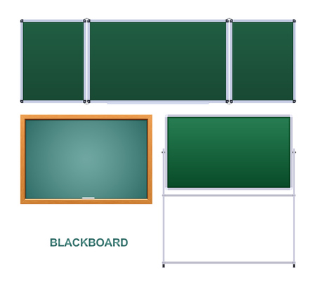 Green educational board, wooden frame, educational institution.