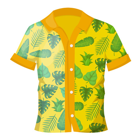 Summer men's colorful shirt with a decorative Hawaiian ornament. Men's shirt with short sleeves. Fashionable modern clothes in bright light colors. Vector illustration.