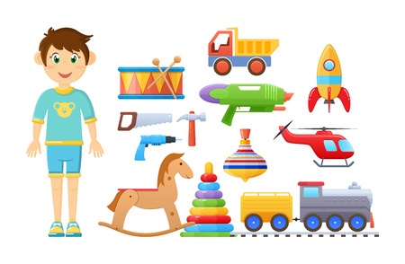 Set of childrens toys for boy. Colorful kids games.