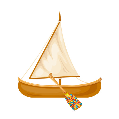 Wooden traditional sailing boat with oars. Water, sea type of transport. Concept of travel, entertainment, recreation, boat trips for fishing. Vector illustration isolated.