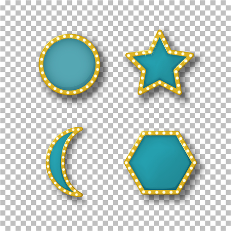 Set of bright colored neon frames, banners, billboard with lighting bulbs. Frames templates with backlight, in vintage style, in form of circle, star, crescent, hexagon. Vector illustration.