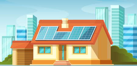 Solar panels, green energy on roof of private house, among the cityscape, skyscrapers. Green energy saving, eco green city environmentally friendly traditional eco friendly modern smart house vector