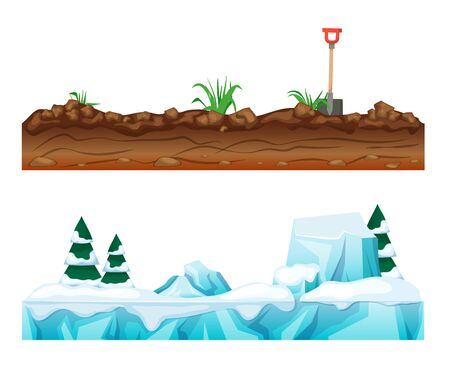 Colorful seamless game landscape, terrain gaming interface. Landscape for 2D games. Snow-covered winter surface with ice and snow. Earthen soil with vegetation. Cartoon vector.  イラスト・ベクター素材