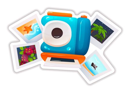 Sticker in form of modern camera, variety of travel photos.