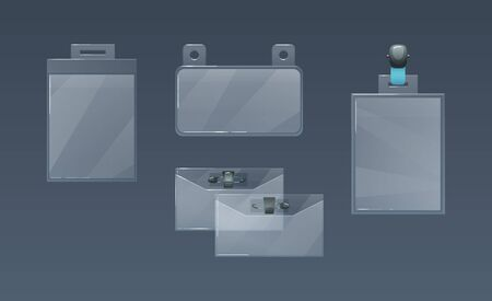 Plastic badge holders for office employee IDs. Vecteurs