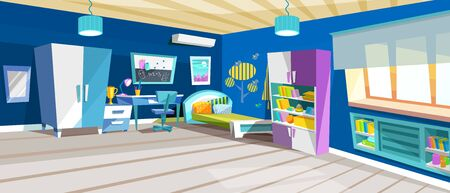 Kid bedroom with boy, childrens bedroom with furniture