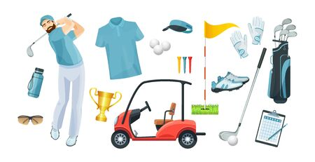 Golf equipment set icons sports gear for game