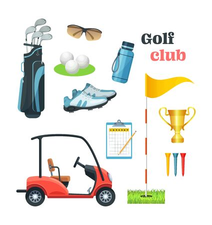 Golf equipment set  icons sports gear for game. Illusztráció