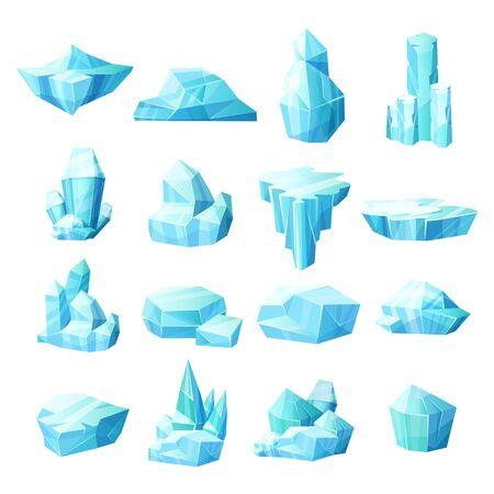 Conjunto realista de cristales de hielo, iceberg trozos de hielo rotos Ilustración de vector