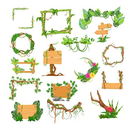Liana branches frames and rainforest tropical leaves flowers, wooden boards with jungle liana plants for game, banner, frames, gui interface. Jungle cartoon elements games plank liana isolated vector