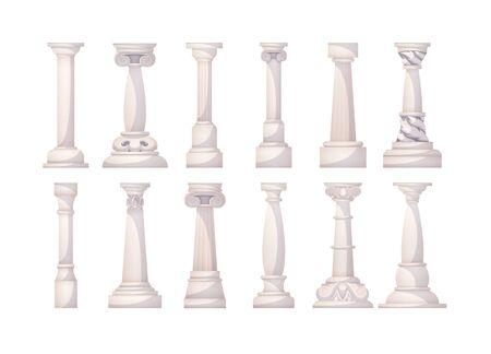 Ancient realistic ornate columns roman or greece classic architecture.