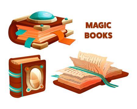 Ancient magic book with mystic spells and witchcraft Ilustração