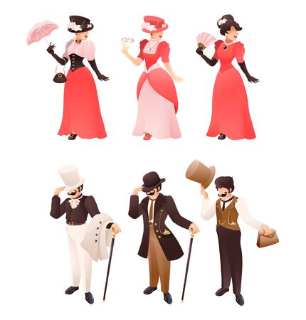 Fashioned retro victorian lady and gentleman with different accessories