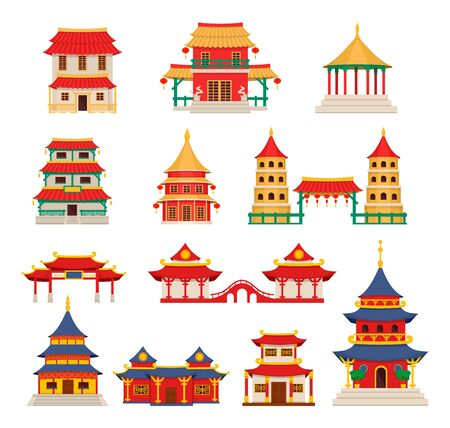 Traditional chinese buildings, asian architecture chinatown vector  イラスト・ベクター素材