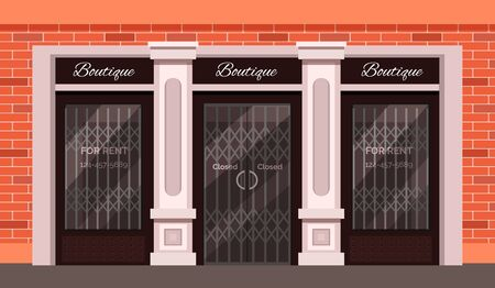 Vintage shop store facade with large window, columns and brick wall.