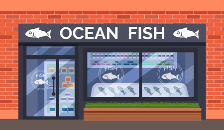 Fish and Seafood shop building store facade Illustration