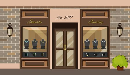 Jewerly shop store facade with storefront vector Illustration