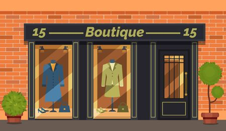 Vintage boutique shop store facade with storefront large window