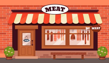 Vintage butcher shop store facade with storefront large window