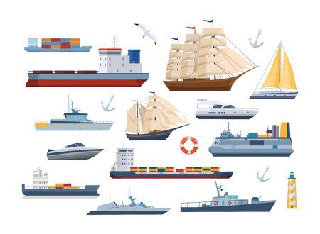 Big set of maritime ships at sea, shipping boats