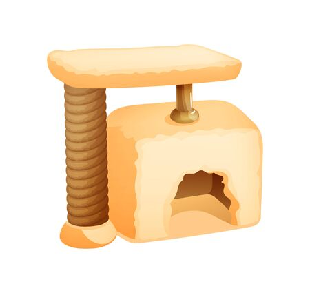 Cat tower, scratching post, claw house, cave, nest, for a cat, puppy, rabbit. Иллюстрация