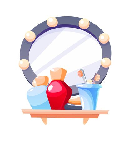 Bathroom with shelves, mirror and shampoo gel toothbrushes cartoon vector