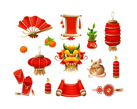 Elements for Chinese traditional Happy New Year with lantern dragon mask mandarin red envelopes burning candles amulet mouse fan scroll with hieroglyphs cartoon vector illustration