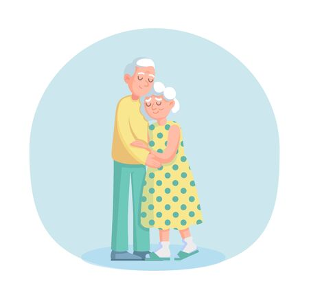 Couple old senior man and woman stand together vector