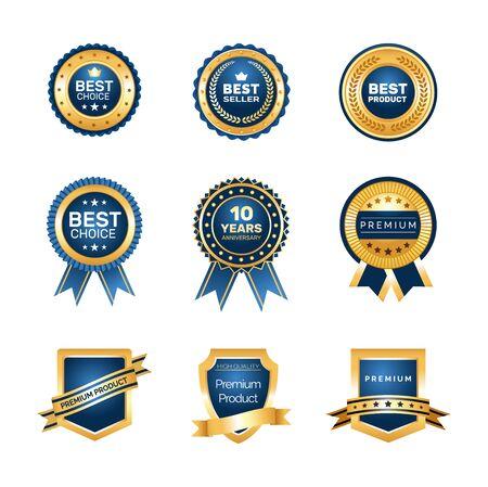 Luxury gold badges quality labels premium set.