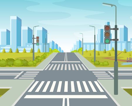 City road with crossroads on the background high-rise city skyscrapers, city apartment buildings house residential with street traffic road crossing crosswalks cartoon vector illustration
