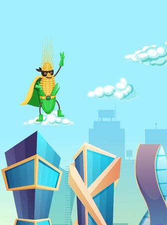 Corn superhero flying in the sky over skyscrapers.  イラスト・ベクター素材