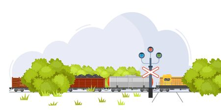 Freight train with wagons, tanks, freight, cisterns. Railway locomotive train with oil wagon, transportation cargo. Railroad crossing with semaphore traffic light vector illustration