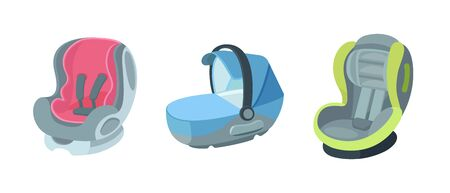Set of child car seats, from newborns to adolescents.