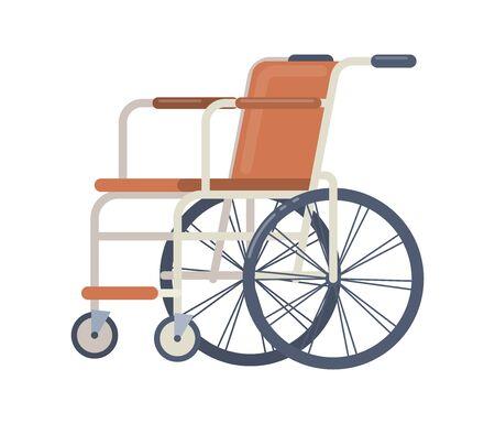 Sedia a rotelle per attrezzature mediche ospedaliere. Sedia per trasporto paziente. Sedia a rotelle nell'illustrazione isolata del fumetto di vettore dell'ospedale su priorità bassa bianca.
