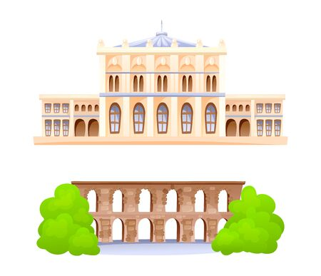Valenta Aqueduct and Dolmabahce Palace building vector Illustration
