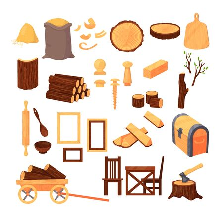 Wood material and products, tree trunks, bark, wood kitchen utensils, branches, planks, wooden furniture, chest, shavings. Logs and boards for the forest industry set cartoon vector illustration  イラスト・ベクター素材