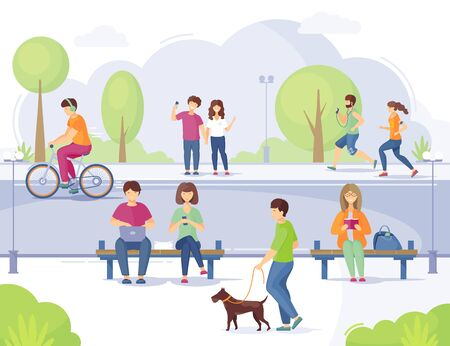 Lifestyle in the era mobile internet technology vector Иллюстрация