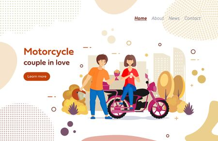 Riders couple in love on motorbike website landing page. Иллюстрация