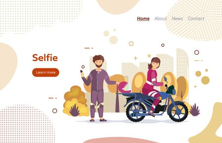 Riders couple in love on motorbike website landing page. Lovers couple together riding motorcycle. Man and woman take a joint selfie standing next to a motorcycle in autumn cartoon vector
