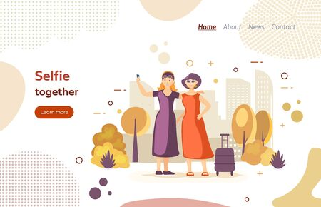 Selfie together photo, against the background of beautiful city park. Tourism and travel together, rest. Two women friends taking self photo as keepsake isolated website landing page vector