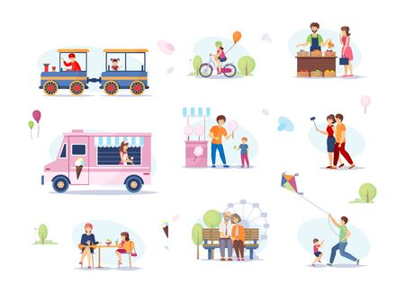 Summer fest, food street fair, food markets outdoors. Amusement and recreation park. Family street cafes, children's attractions, festival, walks of couples and children, games in the park vector Vectores