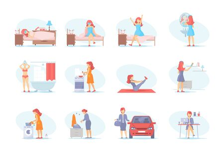 Young woman, office worker and housewife everyday life. Sleeping, waking up from sleep, morning hygiene, cooking kitchen, home cleaning, go to work by car, office worker vector cartoon illustration