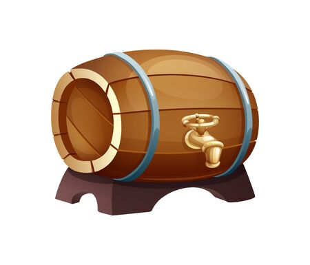 Traditional wooden barrel with tap, for storing and bottling drinks.