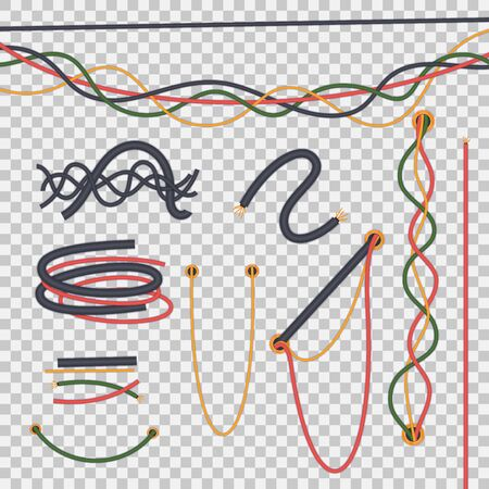 Realistic isolated electrical wires intertwined with each other