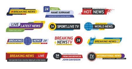 TV title news bar logos, news feeds, television, radio channels.