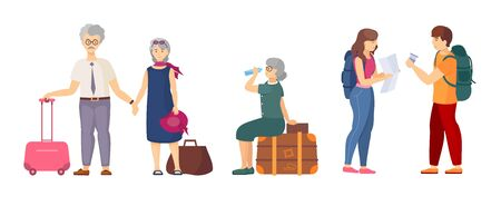 Travel group with luggage travelling in summer vacation