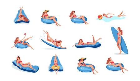 Lady swimming on inflatable ring, air mattress boat 写真素材 - 133683598